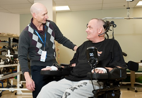 Occupational Therapist working with a Veteran in a Wheelchair
